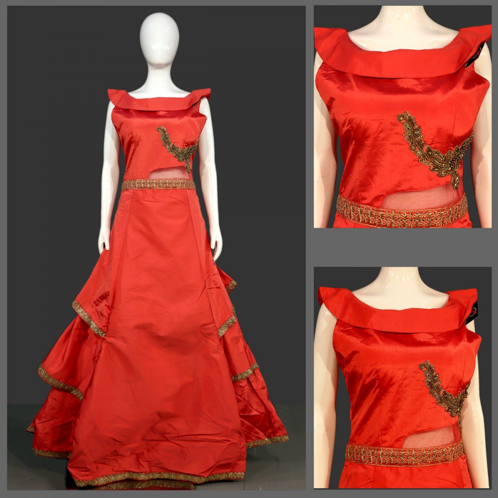 Ready Made Gown Designer Gown Party Wear Gown Long Gown Fancy Gown One Piece Satin Gown Indo Western Gown Embroidered Gown Hand Work Gown